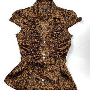 2/$14 XOXO Leopard Print Tie Front Blouse Small